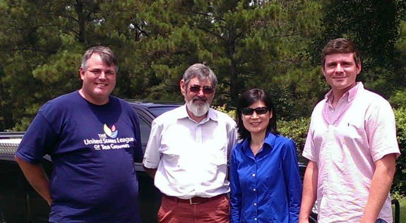 Jason McDonald, Nigel Melican, Dr Bi and Judson LeCompte at J&D Blueberry Farm (via the Great Mississippi Tea Company)